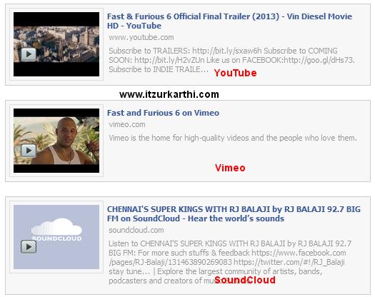 Facebook Style Vimeo, Youtube & SoundCloud Url Expander