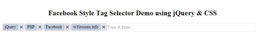 Facebook Style Tag Selector using jQuery & CSS
