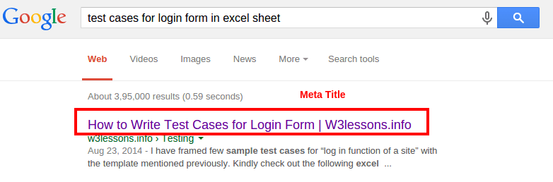 SEO Meta Tags - Title appears in Google Search Results