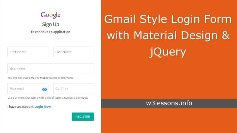 Gmail Style Login and Registration Page using Material ...